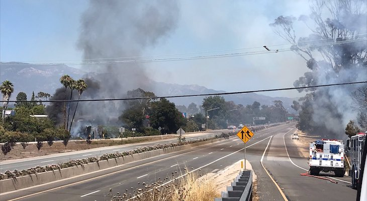 Brush Fire Shuts Down Highway in Goleta
