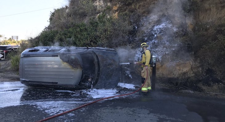 Vehicle Rollover Sparks Fire on Highway 101