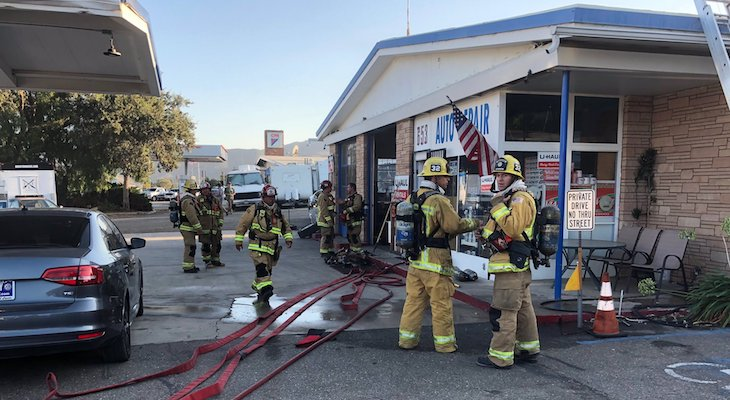 Attic Fire in Buellton UHaul and Auto Shop