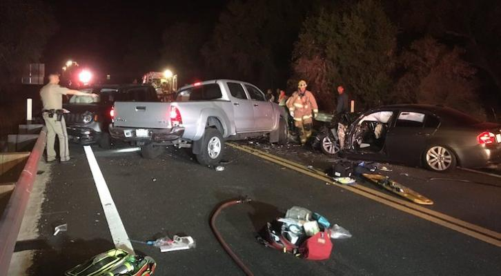 Three-Vehicle Collision with Seven Injured on Highway 154