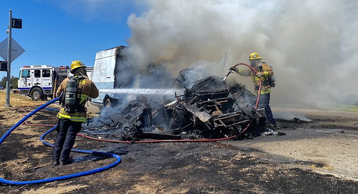 RV Fire on Highway 154 title=