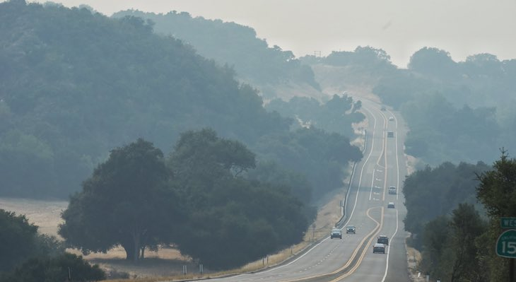 Hazy View of Highway 154 (Photo: Mike Eliason / SBCFD)