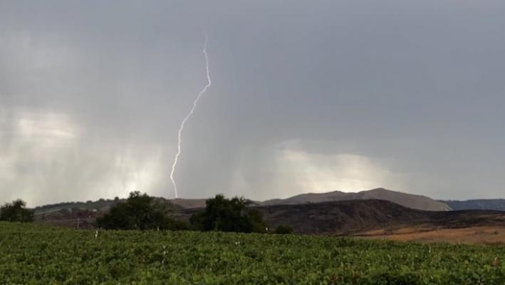 Lightning in the Santa Ynez Valley (Photo: Mike Eliason/SBCFD)