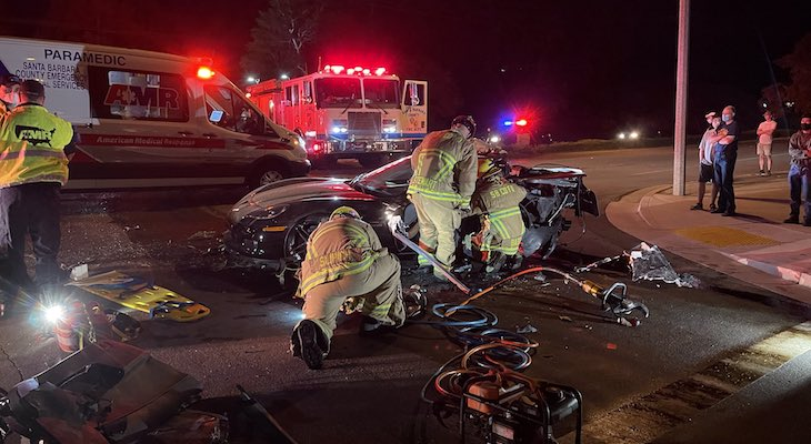 Two Injured in Head On Cathedral Oaks Crash title=