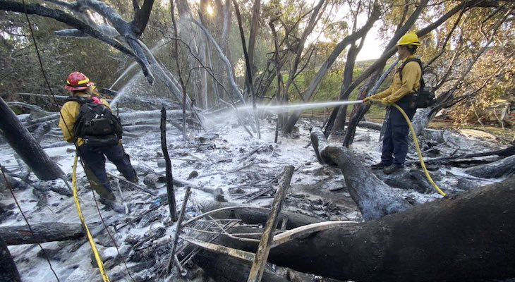 Firefighters Extinguish Large Homeless Camp Fire in Goleta