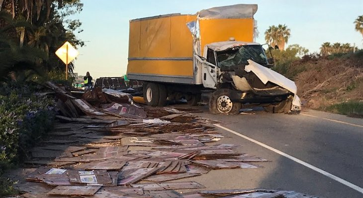 Box Truck Rolls Over Near Milpas title=