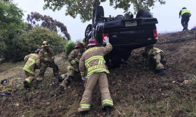 Rollover Traffic Collision Near Los Carneros title=