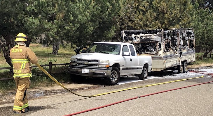 Truck and Trailer Fire in Santa Maria