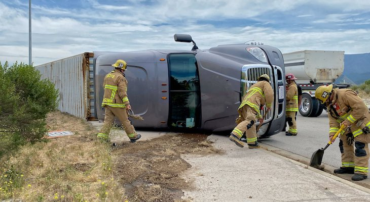 Flat Tire Overturns Semi-Truck in Santa Ynez