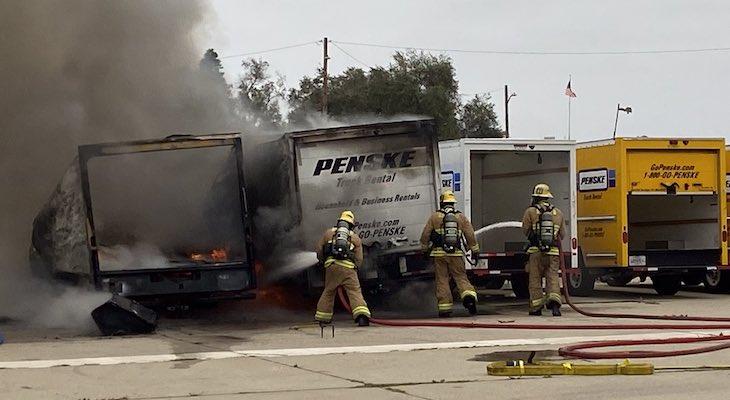 Multiple Penske Rental Trucks on Fire title=