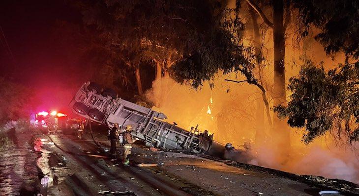 Oil Tanker Crash Causes Brush Fire Near Sisquoc