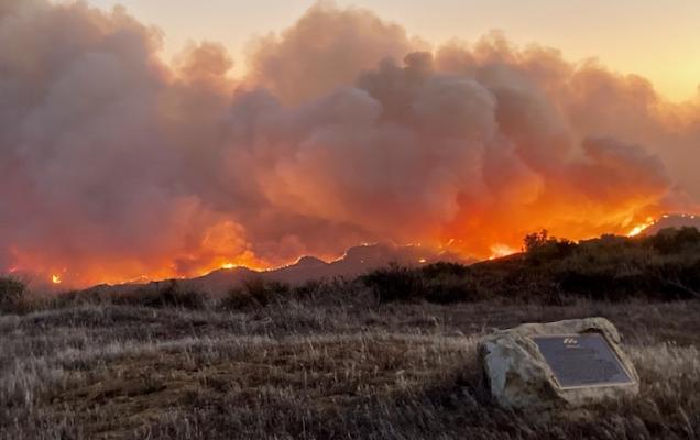 The view of the #AlisalFire from the Reagan Ranch Monday evening courtesy of Fleming Bertelsen (Los Padres National Forest)