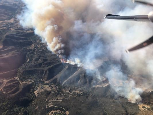 The view from above the #AlisalFire Tuesday morning near Refugio Road. The fire is approximately 6,000 acres & there are 600 firefighting personnel working to contain the blaze. (Photo: Los Padres National Forest Service)