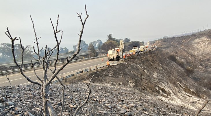 Caltrans working to reopen Highway 101 (Photo: Mike Eliason / SBCFD)