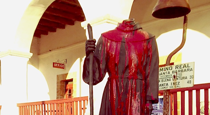 Junipero Serra Statue Beheaded at Old Mission title=