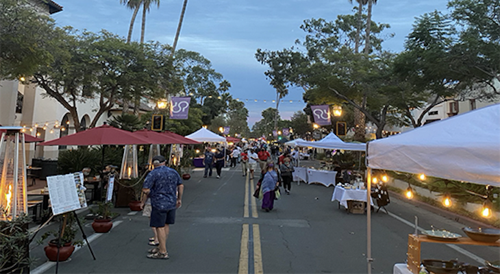 Downtown Santa Barbara Organization setting up a Downtown Promenade Market, Nov. 2020, to help attract shoppers to downtown