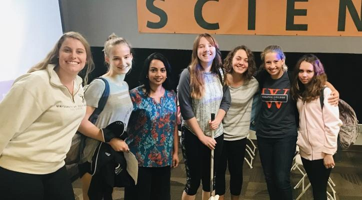 Nazia Hussain, systems administrator at Agilysys (third from right), with SBHS Computer Science Academy students, left to right, Jessica Ericsson, Ella Onishuk, Madeline Rogers, Karleigh Dehlsen, Joy Patterson, and Amelia Kot. title=
