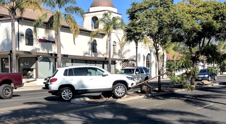 SUV Crashes into Boulder on Carrillo