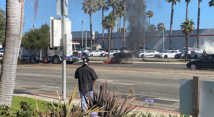 Electric Bicycle Fire on Hollister Ave title=