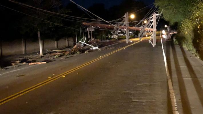 Vehicle Crash Takes Out Large Pole and Cuts Power title=