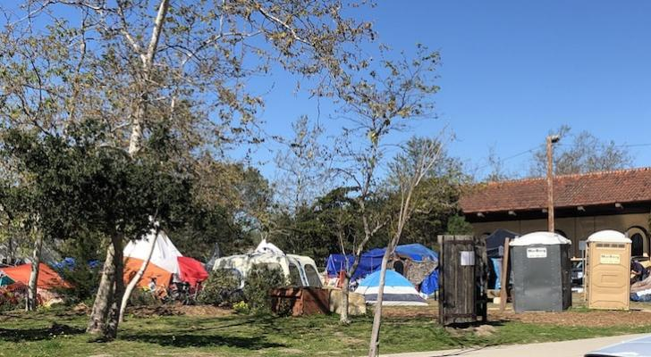 Large scale homeless encampment at People's Park in Isla Vista (edhat photo)
