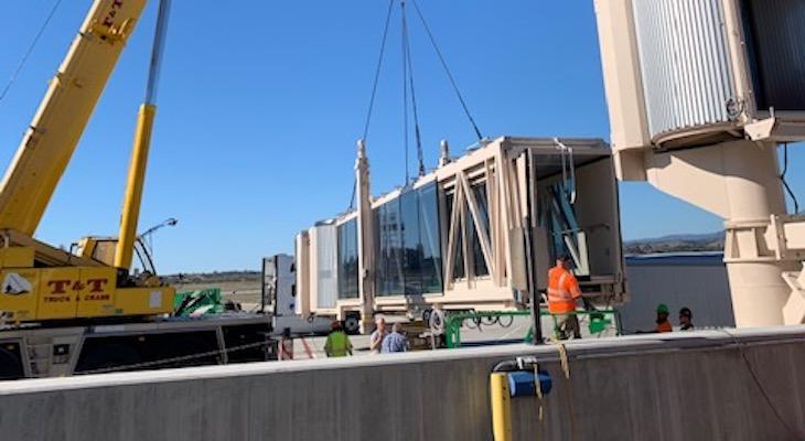 New Passenger Jet Bridge Arrives at Santa Barbara Airport title=