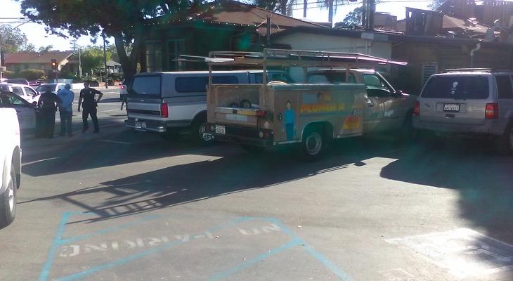 Suspected Drunk Driver in Parking Lot of Derf's Café title=