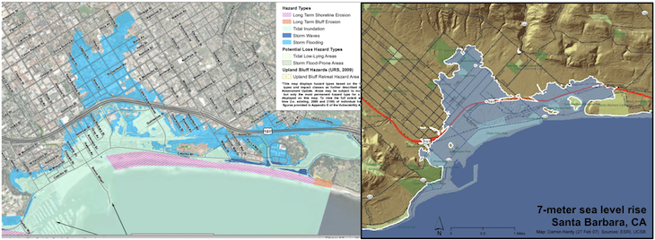 Projected Sea Level Rise in Santa Barbara title=