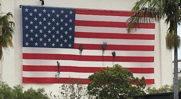 Lobero Building Flag Vandalized title=