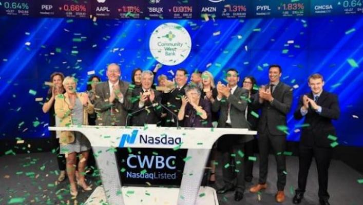 Community West Bank Rings the NASDAQ Stock Market Closing Bell title=