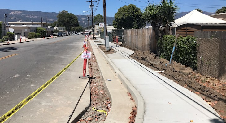 Construction of New Sidewalks Nears Finish Line in Old Town Goleta