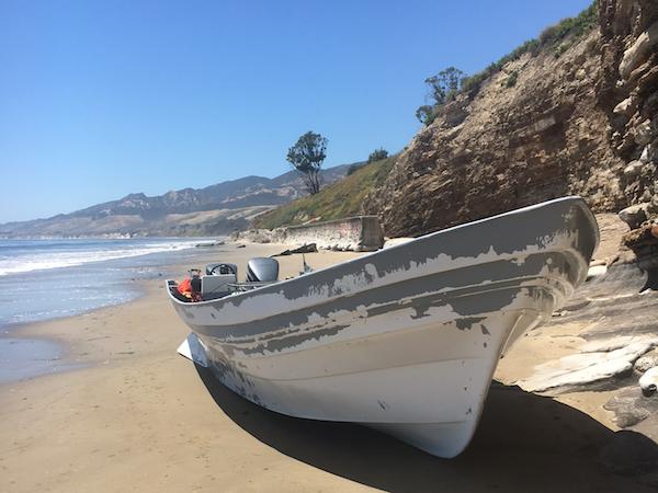 Abandoned Panga Boat at Refugio State Beach title=