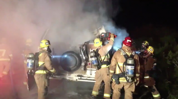 RV Fire on Highway 101 title=