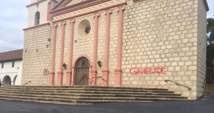 Santa Barbara Mission Vandalized with Red Paint title=