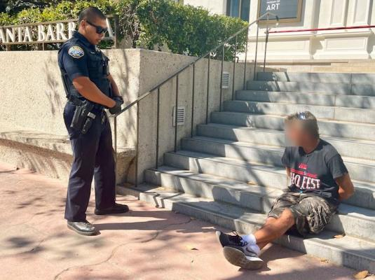 Suspect detained by a Santa Barbara Police Officer (Photo: SBPD)