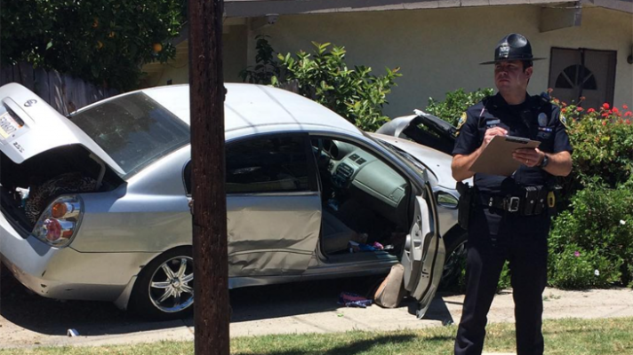 Vehicle Crashes Near Home After Pursuit title=
