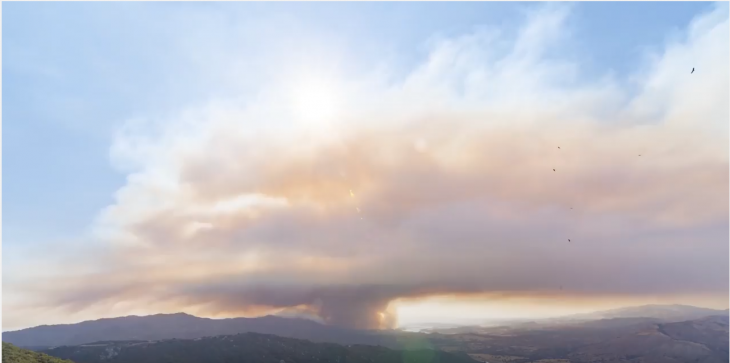 Timelapse of the Whittier Fire title=