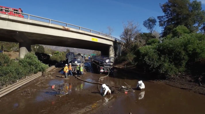 See How Caltrans Reopened Highway 101 Following the Montecito Mudslide title=