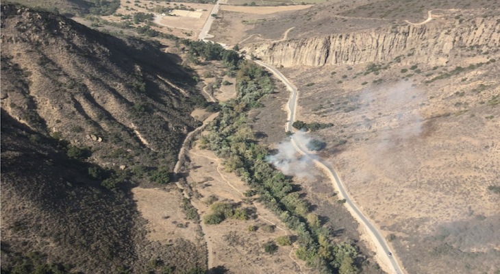 Hill Fire Caused by Human Activity