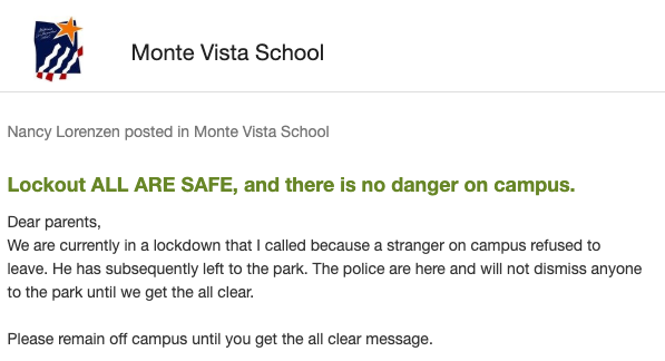 Monte Vista Elementary School Under Lockout