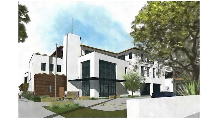 Artistic renderings by Cearnal Collective of the new Santa Barbara Police Station at 119 E. Cota Street