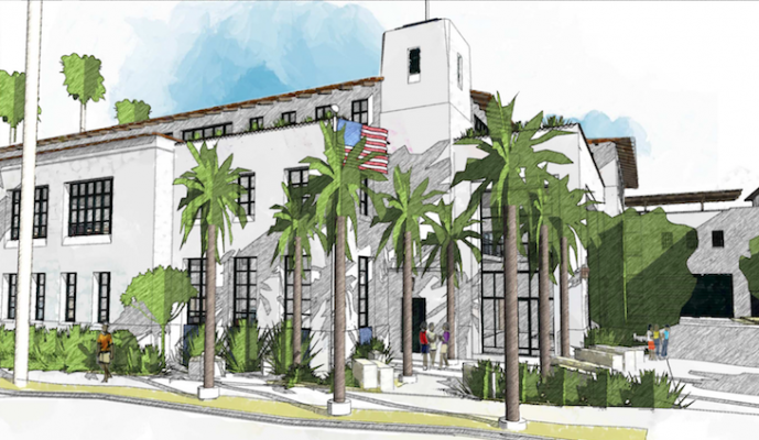 View of the proposed Santa Barbara Police Department entry from across Santa Barbara Street (courtesy image)