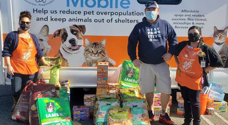 Pet food donations from the Home Depot team in Lompoc to C.A.R.E.4Paws