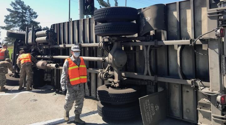 Foodbank Truck Overturns in Lompoc