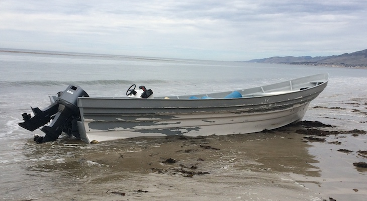 Abandoned Panga Boat Found on Arroyo Quemada Beach