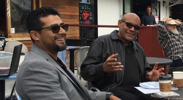 Victor Rios, left, and Jeffrey Stewart in Isla Vista