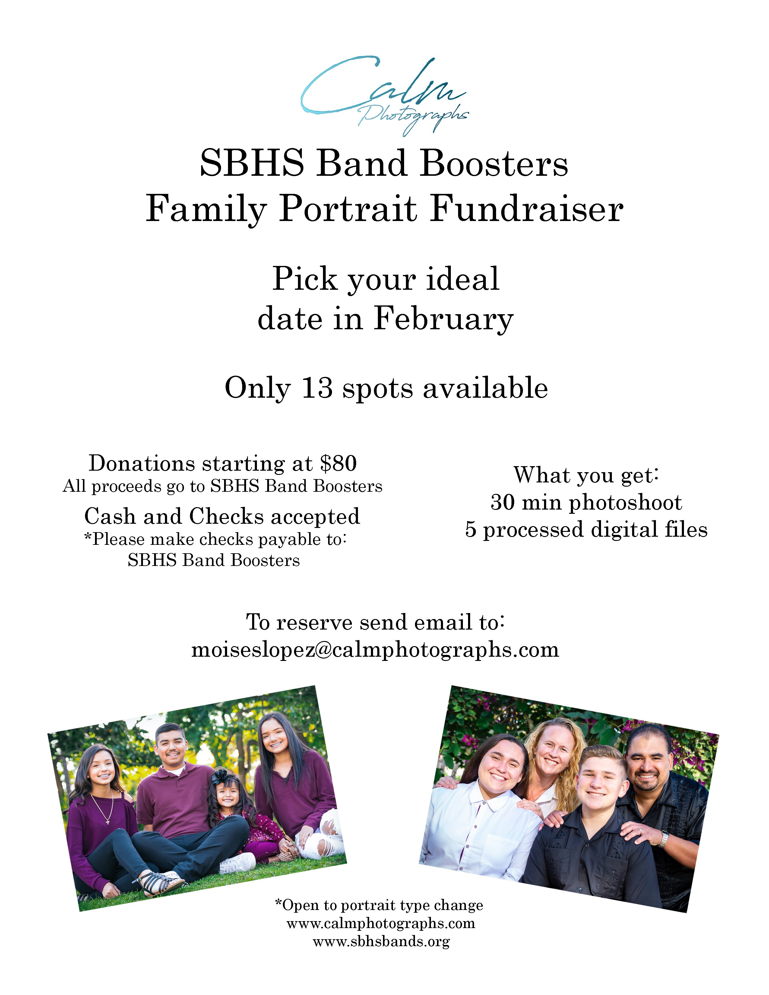 SBHS Band Booster Family Portrait Fundraiser