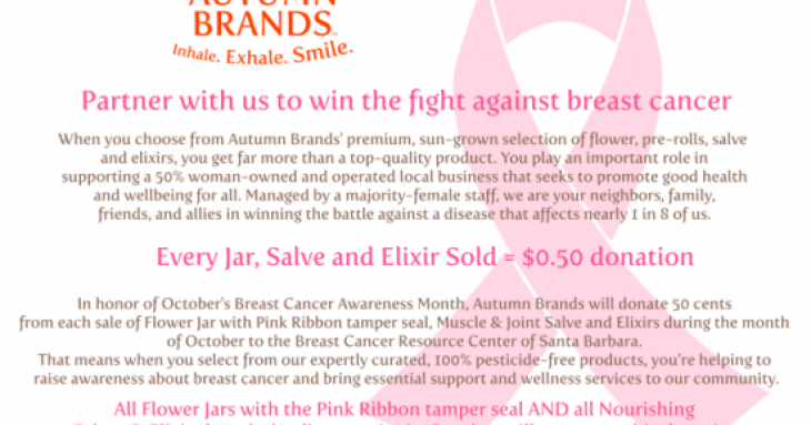 The Cannabis That Helps Fight Cancer: This October, Autumn Brands Pledges Proceeds to the Breast Cancer Resource Center of Santa Barbara