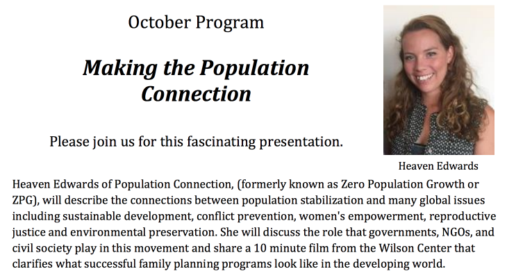 The Population Connection: A Talk by Heaven Edwards