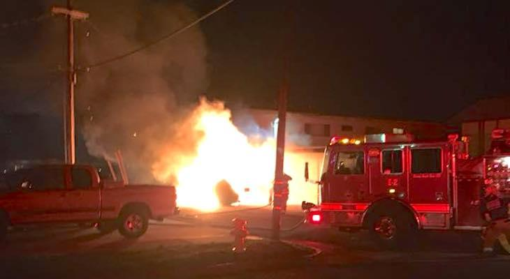 Firefighters Respond to Carport Fire in Lompoc